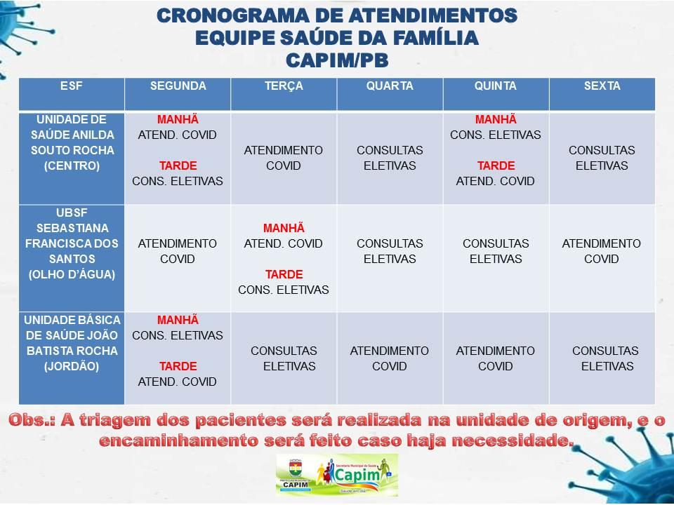 Unidades Básicas de Saúde de Capim seguem novo cronograma de atendimento
