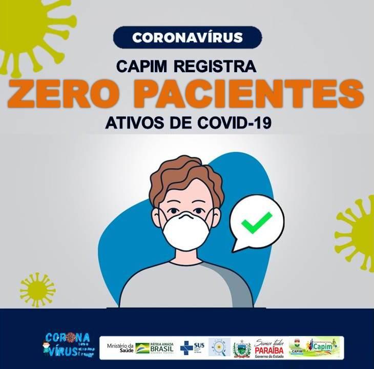 Capim registra ZERO Pacientes ativos de COVID-19