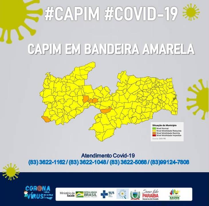 COVID-19: MUNICÍPIO DE CAPIM PASSA PARA A BANDEIRA AMARELA